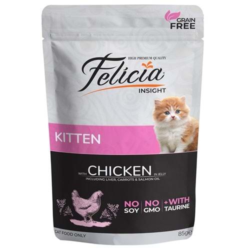 Felicia Tahılsız 85 gr Yavru Tavuklu Yaş Kedi Maması 12 Adet